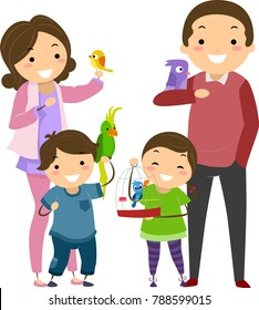 Illustration of Stickman Family with Their Pet Birds