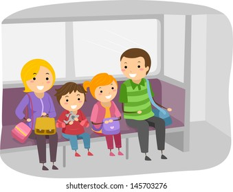 Illustration of Stickman Family Travelling by Train