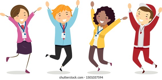 Illustration of Stickman Girl and Man Teachers Wearing Their IDs and Jumping