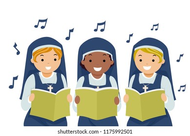 Illustration of Stickman Girl Nuns Holding Song Book and Singing Praises with Musical Notes Floating Around