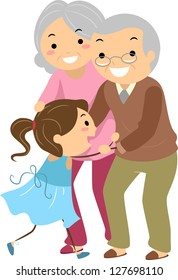 Illustration of Stickman Grandparent Couples with their Grandchild