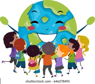 Illustration of Stickman Group of Children Hugging a Happy Globe Mascot
