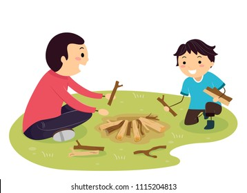 Illustration of a Stickman Kid Boy and Father Stacking Wood and Branches to Build Camp Fire Outdoors