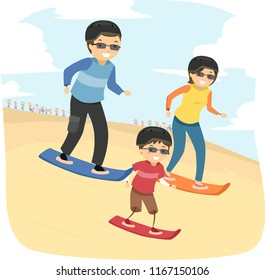 Illustration of a Stickman Kid Boy with Parents Trying Out Sandboarding