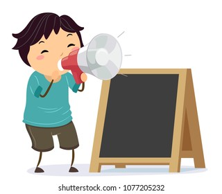 Illustration of a Stickman Kid Boy Using a Megaphone to Announce a Sale and Standing Beside a Blank Board