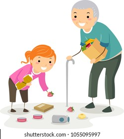 Illustration of a Stickman Kid Girl Helping a Senior Man Pick Up Fallen Grocery Items