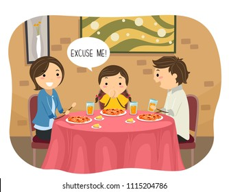 Illustration of Stickman Kid Girl Saying Excuse Me During a Meal in a Restaurant