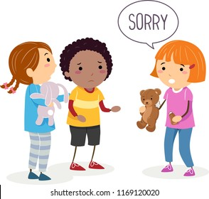 Illustration of a Stickman Kid Girl Saying Sorry for Breaking Her Friends Stuffed Teddy Bear Toy