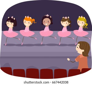 Illustration of Stickman Kid Girls Practicing the Ballet Performance on Stage with Teacher