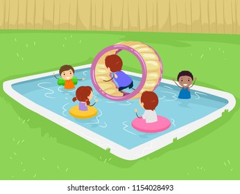 Illustration of Stickman Kid In the Pool in the Backyard with Inflatable Wheel and Flotation Devices