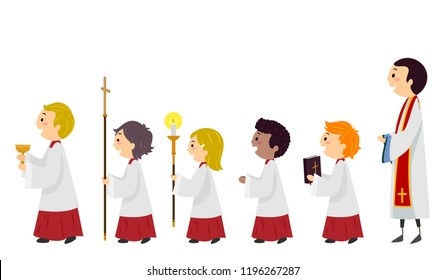 Illustration of Stickman Kids Altar Server Walking in Line with the Priest Behind