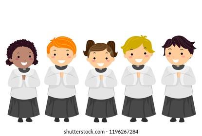 Illustration of Stickman Kids as Altar Servers