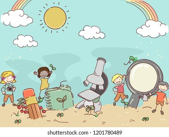 Illustration of Stickman Kids Among Plants with Pencil, Notebook, Microscope and Magnifying Glass Growing on Soil Under the Sky
