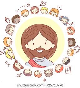 Illustration of Stickman Kids Around Jesus Christ