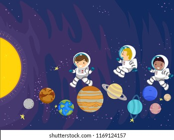 Illustration of Stickman Kids Astronaut Jumping Over Planets Towards the Sun in the Outer Space