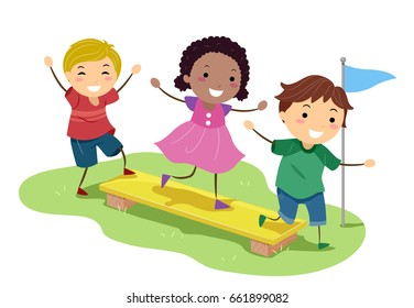 Illustration of Stickman Kids Balancing on a Wooden Plank in an Obstacle Course