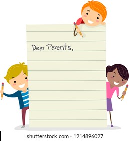 Illustration of Stickman Kids with a Blank Letter for their Parents. Dear Parents Paper
