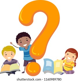 Illustration of Stickman Kids with Books and a Question Mark