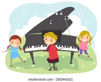 Illustration of Stickman Kids with the Boy Playing the Grand Piano Outdoors in the Garden