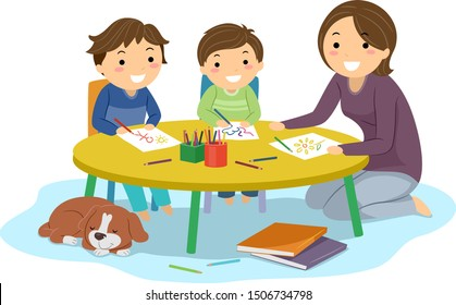 Illustration of Stickman Kids Boys Being Home Schooled Drawing on a Table with Their Mother