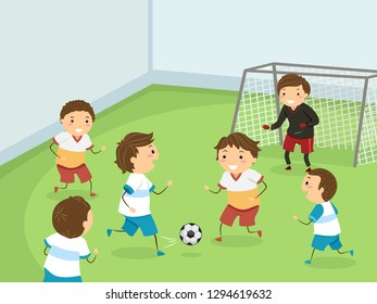 Illustration of Stickman Kids Boys Playing Indoor Football
