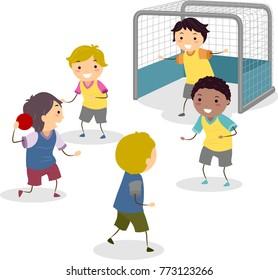 Illustration of Stickman Kids Boys Playing Handball Near the Goal