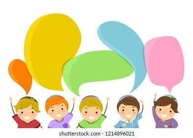 Illustration of Stickman Kids Boys Wearing Kippah with Hands Raised and Blank Speech Bubbles