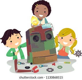 Illustration of Stickman Kids Building a Robot Made from Different Scraps from Junk Yard