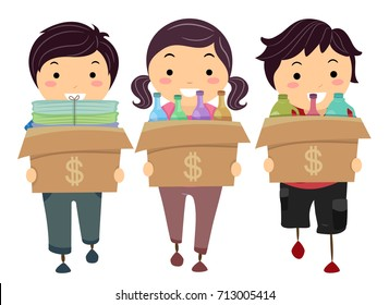 Illustration of Stickman Kids Carrying Boxes with Recyclable Materials