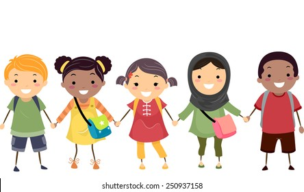 Illustration of Stickman Kids Celebrating Diversity