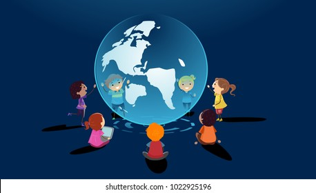 Illustration of Stickman Kids in Circle Learning Through a Globe Hologram