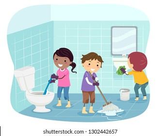 Illustration of Stickman Kids Cleaning the Bathroom from Toilet Bowl, Floor and Sink