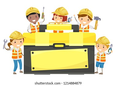 Illustration of Stickman Kids with Construction Tool Box Holding a Wrench, Screw Driver, Tape Measure, Hammer and Pliers