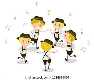 Illustration of Stickman Kids In Costume Dancing Schuhplattler with Musical Notes Around