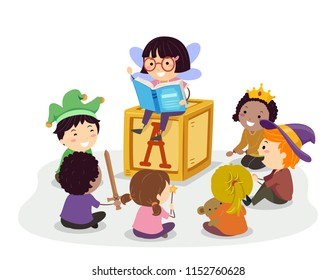 Illustration of Stickman Kids with Costumes Taking Turns Telling Stories from a Book