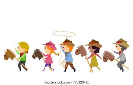 Illustration of Stickman Kids Cowboy Riding Toy Horse and Spinning a Rope