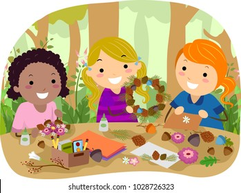 Illustration of Stickman Kids Creating Woodland Crafts Outdoors like a Wreath and a Card