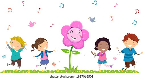 Illustration of Stickman Kids Dancing with Flower Mascot in Spring Season