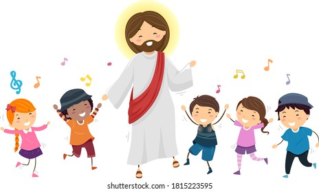Illustration of Stickman Kids Dancing to Music with Jesus Christ