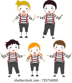 Illustration of Stickman Kids in Different Mime Poses