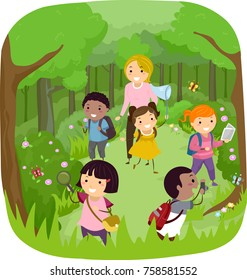 Illustration of Stickman Kids Documenting Woodlands Using Net, Magnifying Glass and Camera