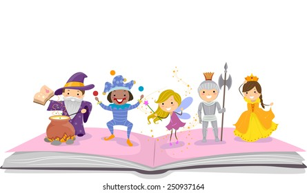 Illustration of Stickman Kids Dressed as Characters Commonly Seen in Storybooks