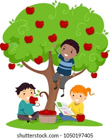 Illustration of Stickman Kids Eating Apples from the Tree and Reading a Book