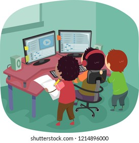 Illustration of Stickman Kids Editing a Video on Computer with Two Monitors