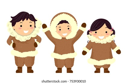 Illustration of Stickman Kids Eskimo Wearing Brown Furry Winter Clothes