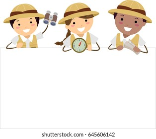Illustration of Stickman Kids in Explorer Costume holding a Compass, Binoculars, Map and a Blank Board