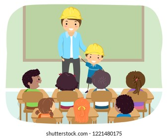 Illustration of Stickman Kids with Father and Kid in Classroom Wearing Yellow Construction Hard Hat