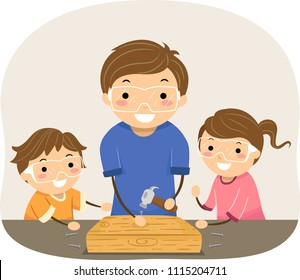 Illustration of Stickman Kids and Father Woodworking. Man Showing Kids How to Hammer a Nail
