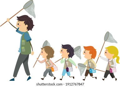 Illustration of Stickman Kids Following a Man and Holding Net to Catch Insects. Entomology
