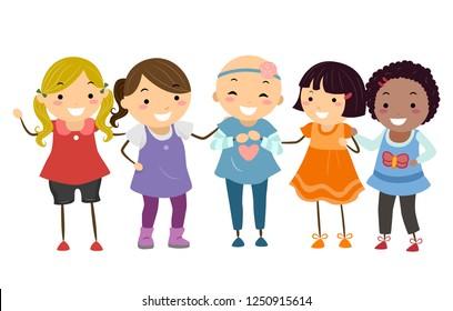 Illustration of Stickman Kids Girls with a Bald Girl Friend